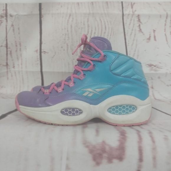 e7187e30d122 ... Reebok Question Mid Basketball Youth Size 8 GreyOrchidPink NWB  online  shop 9e760 ff64d Girls V72789 Question Mid Girls VioletBlue Shoes ...